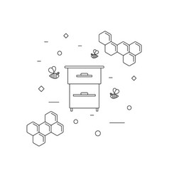 beekeeping bees and beehive icon vector image