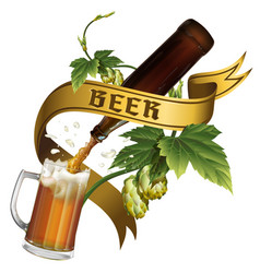 beer mug hops bottle and tape with inscription vector image