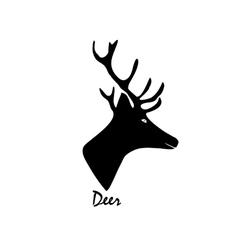 Black silhouette of a deer on vector image