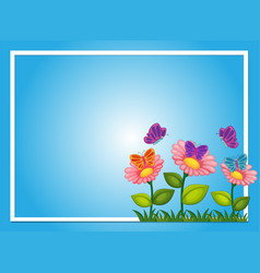 Border template with flowers and butterflies vector