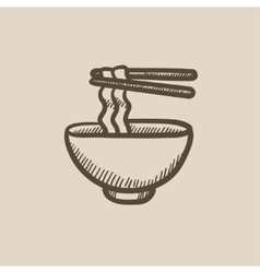 Bowl of noodles with pair chopsticks sketch icon vector image