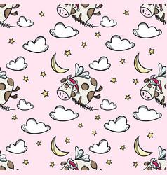 bull in sky christmas seamless pattern vector image