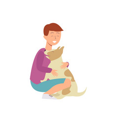 cartoon boy teen kid hugging dog vector image