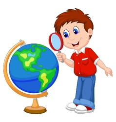 Cartoon boy using magnifying glass looking at glob vector image