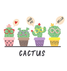 cartoon funny cactus in glasses vector image