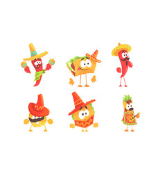 Cartoon humanized traditional mexican food set of vector