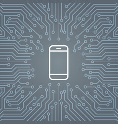 cell smart phone icon over computer chip vector image