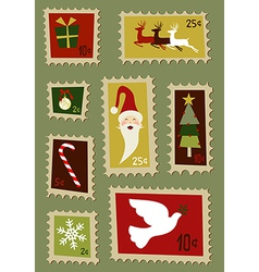 Christmas postage stamps set vector image