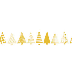 christmas trees border seamless gold white vector image