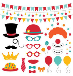 Circus photo booth props and decoration vector image