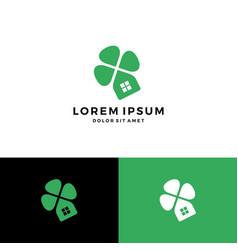 clover house home leaf four logo download vector image
