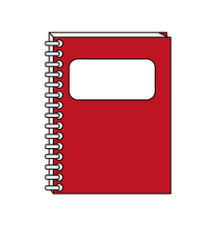 color contour cartoon red notebook spiral closed vector image