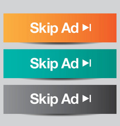 Colorful set of skip ad buttons vector image