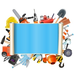 construction scroll with tools vector image