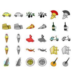 Country italy cartoonmonochrom icons in set vector