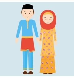 Couple man woman wearing brunei islamic vector