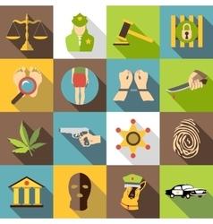 Crimonal icons set flat style vector image