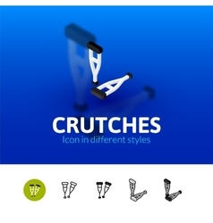 Crutches icon in different style vector image