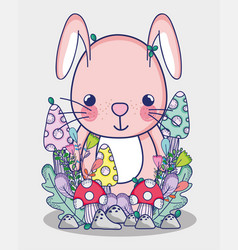 Cute bunny doodle cartoon vector
