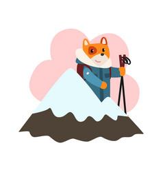 cute dog animal cartoon character skiing in ski vector image