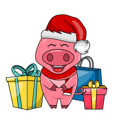 Cute santa pig with gift boxes merry christmas vector