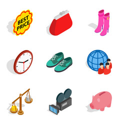 Economic prosperity icons set isometric style vector