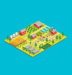 farm rural concept 3d isometric view vector image