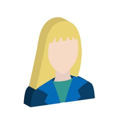 female avatar symbol flat isometric icon or logo vector image
