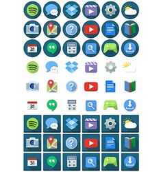 Flat Circle Square Android Icons vector