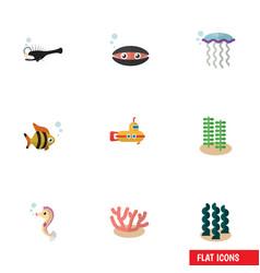 Flat icon nature set of seafood algae vector