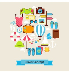 Flat Style Summer Vacation and Travel Objects vector image