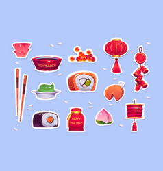food and decoration for chinese new year vector image