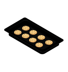 freshly baked homemade cookies on baking tray vector image