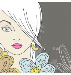 Girl in flowers vector