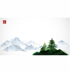 Green pine trees and distant blue mountains vector