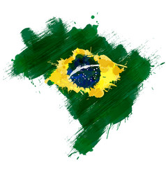 grunge map brazil with brazilian flag vector image