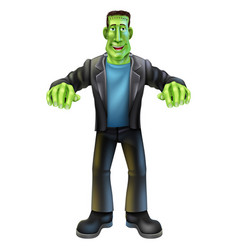 Halloween cartoon frankenstein vector