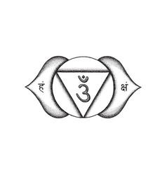 hand drawn chakra ajna vector image