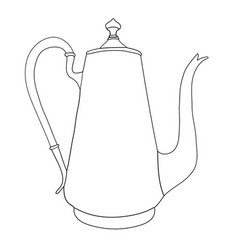 Hand drawn coffee pot on white background vector
