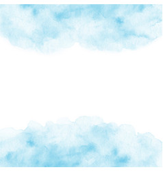 hand painted blue watercolor frame texture vector image