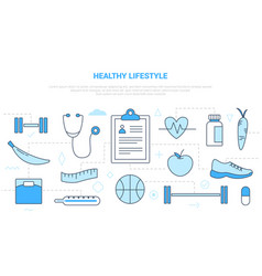 Healthy lifestyle concept with icon set template vector