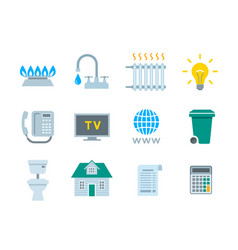 household services utility payment bill flat icons vector image