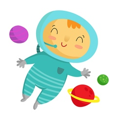 Kid astronaut isolated on white vector image