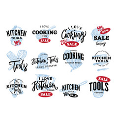 Kitchen equipment sale logos set vector