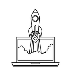 laptop with rocket launcher vector image