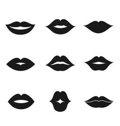 Lips black shape icon set vector