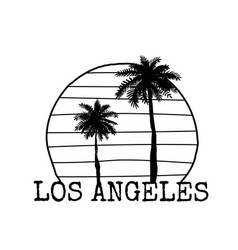 Los angeles symbol line drawing with palm tree vector