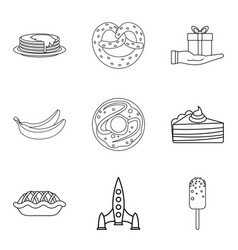 Make a cake icons set outline style vector
