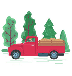 Man driving lorry with potato harvest farming vector