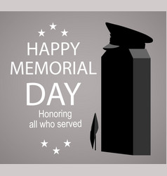 Memorial day label with monument honoring all vector